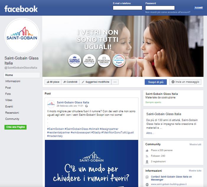 Online la nuova pagina Facebook di Saint-Gobain Glass Italia